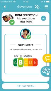 Nutri-Score Colruyt NS op SWF app (1)